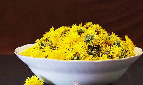 Сорванные желтые цветки одуванчика в тарелке
