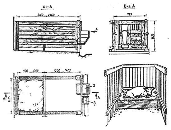 Индивидуальная деревянная клетка для телят