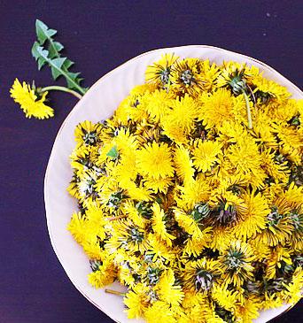 соцветия одуванчика в тарелке
